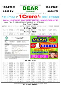 Lottery Sambad Live today 4pm 19/04/2021 Nagaland State Lottery Result Pdf File Download