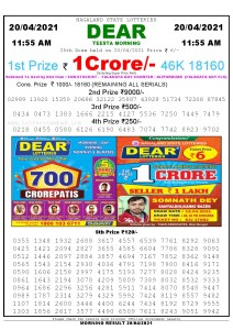 Sambad 11:55 am 20/04/2021 Morning Sikkim State Lottery Result Pdf Download