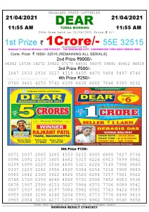 Sambad 11:55 am 21/04/2021 Morning Sikkim State Lottery Result Pdf Download