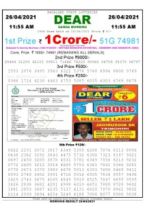 Sambad 11:55 am 26/04/2021 Morning Sikkim State Lottery Result Pdf Download