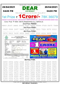 Lottery Sambad Live today 4pm 26/04/2021 Nagaland State Lottery Result Pdf File Download