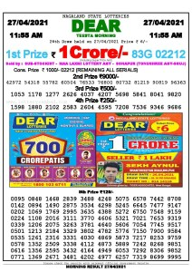 Sambad 11:55 am 27/04/2021 Morning Sikkim State Lottery Result Pdf Download
