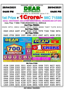 Lottery Sambad Live today 4pm 28/04/2021 Nagaland State Lottery Result Pdf File Download