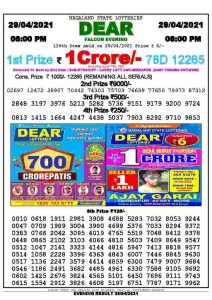 Lottery Sambad Live Result 8pm 29/04/2021 Evening Nagaland State Lottery Result Pdf Download