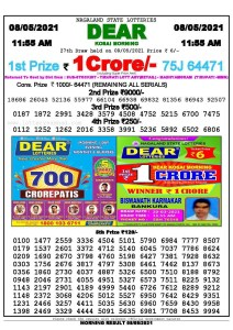Sambad 11:55 am 08/05/2021 Morning Sikkim State Lottery Result Pdf Download