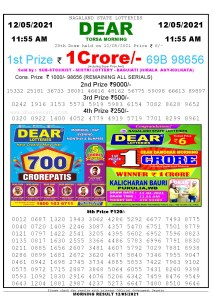 Sambad 11:55 am 12/05/2021 Morning Sikkim State Lottery Result Pdf Download