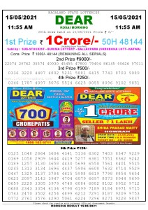 Sambad 11:55 am 15/05/2021 Morning Sikkim State Lottery Result Pdf Download