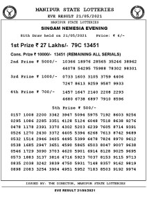 Manipur State Lottery Result (21.05.2021) Out now 07 pm pdf download