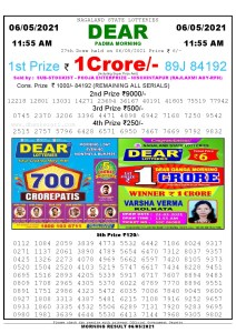 Sambad 11:55 am 06/05/2021 Morning Sikkim State Lottery Result Pdf Download