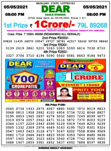 Lottery Sambad Live Result 8pm 05/05/2021 Evening Nagaland State Lottery Result Pdf Download