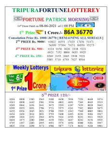 Tripura Lottery Result 08.06.2021 Today 11:00 AM Morning Result Pdf Download