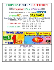 Tripura Lottery Result 10.06.2021 Today 7 PM Evening Result Pdf Download
