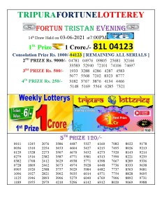 Tripura Lottery Result 03.06.2021 Today 7 PM Evening Result Pdf Download
