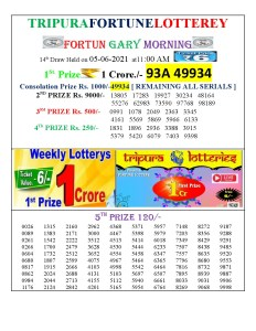 Tripura Lottery Result 05.06.2021 Today 11:00 AM Morning Result Pdf Download