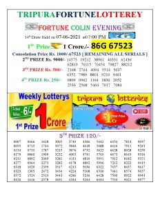 Tripura Lottery Result 07.06.2021 Today 7 PM Evening Result Pdf Download