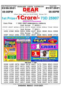 Lottery Sambad Live Result 8pm 01/07/2021 Evening Nagaland State Lottery Result Pdf Download