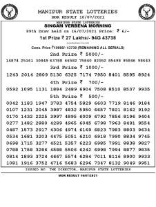 Manipur State Lottery Result (16.07.2021) Out now 11:00 AM pdf download