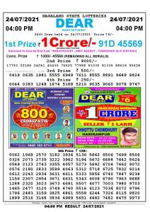 Lottery Sambad Live today 4pm 24/07/2021 Nagaland State Lottery Result Pdf File Download