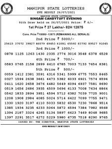 Manipur State Lottery Result (26.07.2021) Out now 07 pm pdf download