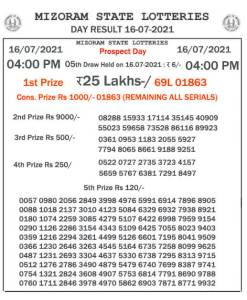 Mizoram State Lottery Result (16.07.2021) Out now 04:00 pm pdf download