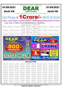 Lottery Sambad Live Result 8pm 01/08/2021 Evening Nagaland State Lottery Result Pdf Download