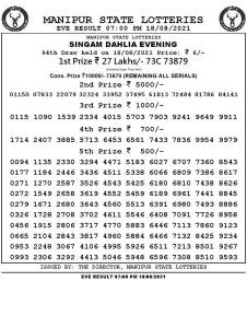 Manipur Lottery Result today 18/08/2021 singam 7pm pdf download