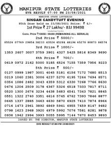 Manipur Lottery Result today 23/08/2021 singam 7pm pdf download