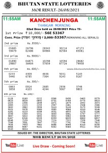 Bhutan Lottery Result 26.8.2021 Today Morning 11:55 AM PDF download