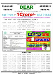 Lottery Sambad Live today 4pm 09/08/2021 Nagaland State Lottery Result Pdf File Download