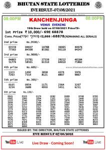 Bhutan Lottery Result 07.8.2021 Today evening 8pm PDF download