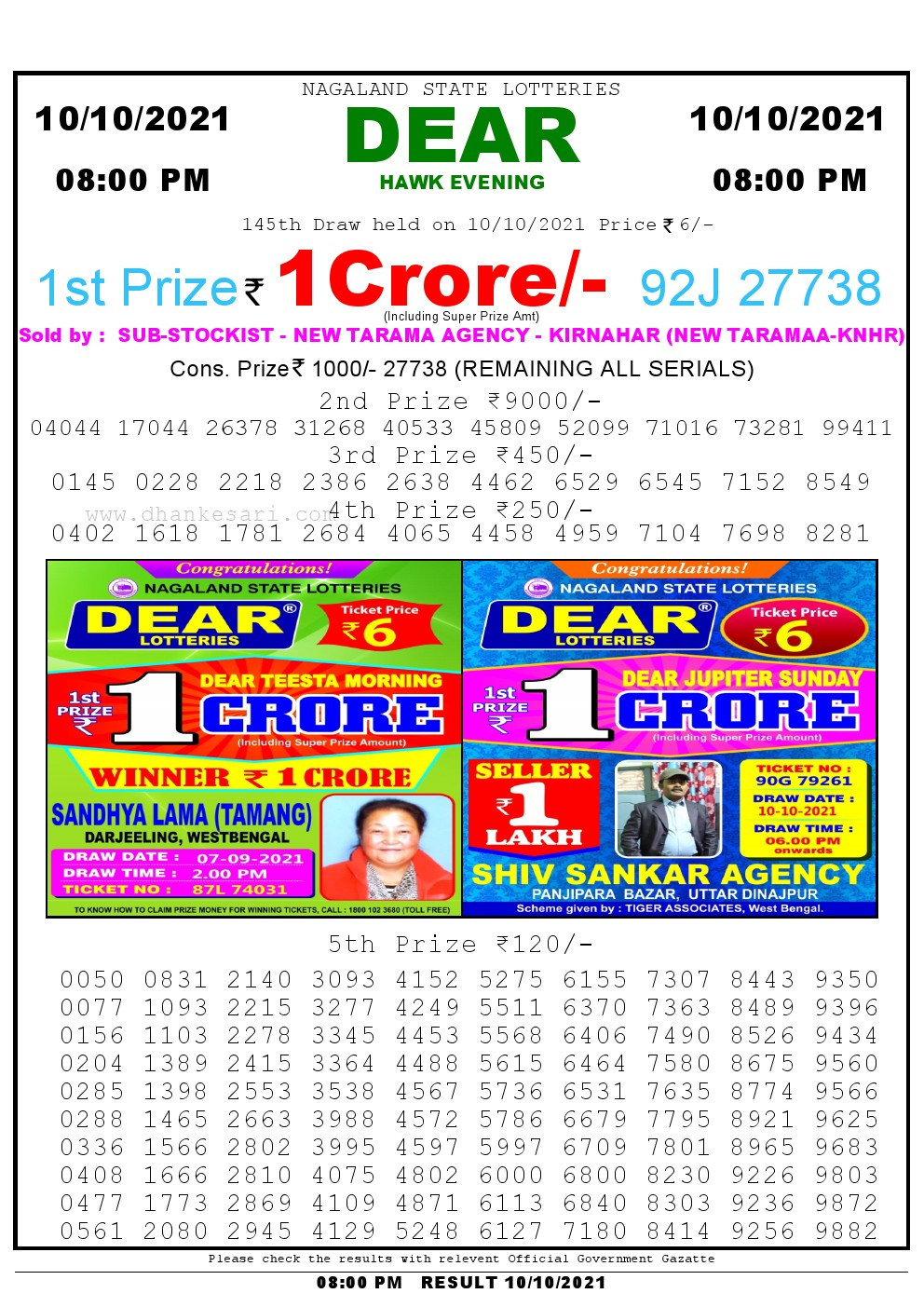 Lottery Sambad Live Result 8pm 10/10/2021 Evening Nagaland State Lottery Result Pdf Download