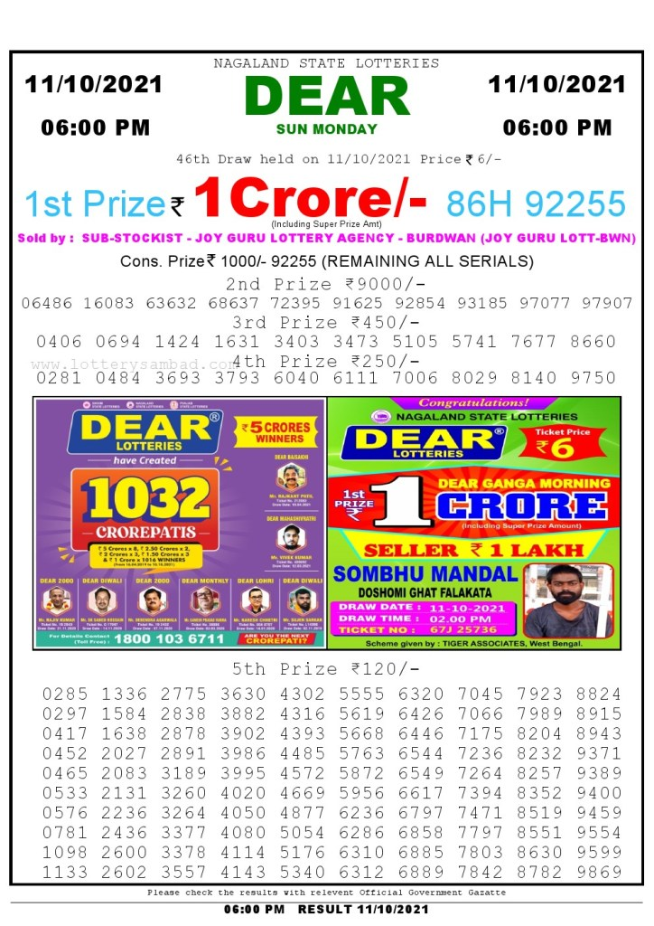 Lottery Sambad Live Result 6pm 11/10/2021 day Nagaland State Lottery Result Pdf Download