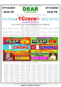 Lottery Sambad Live Result 8pm 07/10/2021 Evening Nagaland State Lottery Result Pdf Download