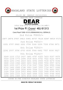 Lottery Sambad Live Result 8pm 09/10/2021 Evening Nagaland State Lottery Result Pdf Download