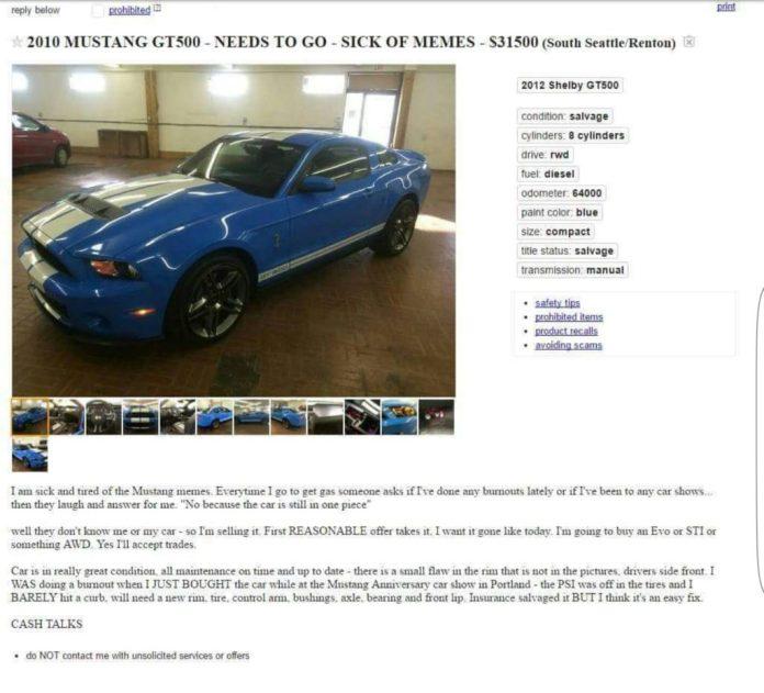 Crashed Craigslist Mustang
