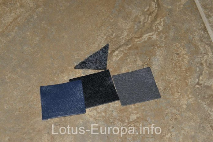 Lotus Europa carpet and leather samples