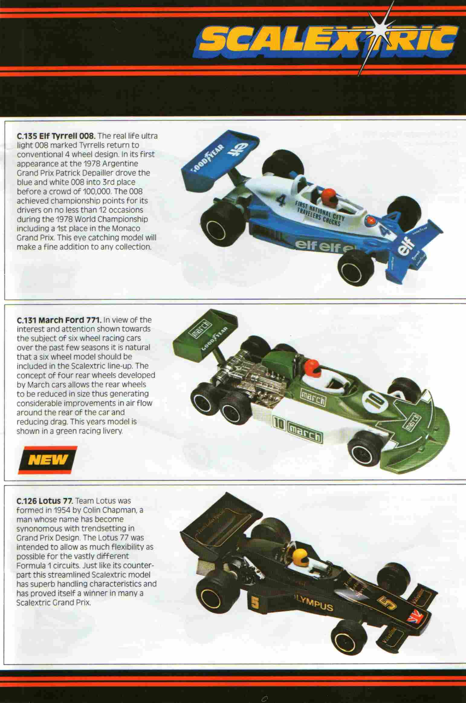 Scalextric Lotus 77, March-Ford 771 and Tyrrell 008 slot cars