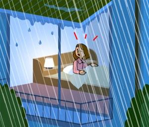 寝ている人の半数くらいが雨音に気がつく