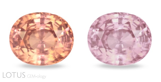 Sri Lankan pink sapphire (right) were sometimes irradiated to create padparadscha-like colors (left). Photo: Sora-at Manorotkul / Lotus Gemology.