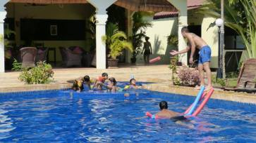 Swimming at the Lotus Lodge in Siem Reap