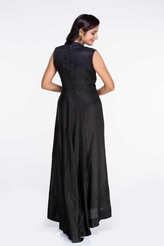 Black Line Satin Maxi Dress