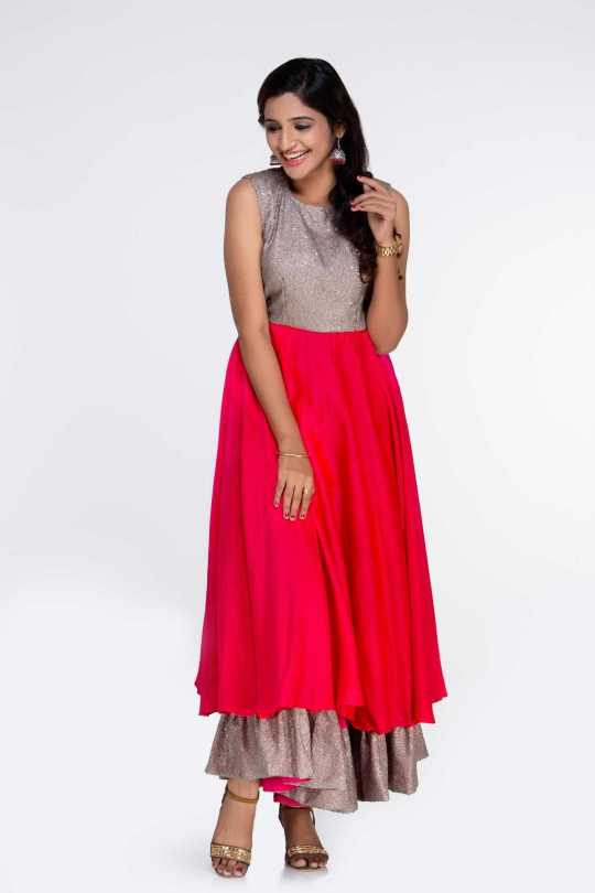 Pink and Gold Party Wear Desiner Dress