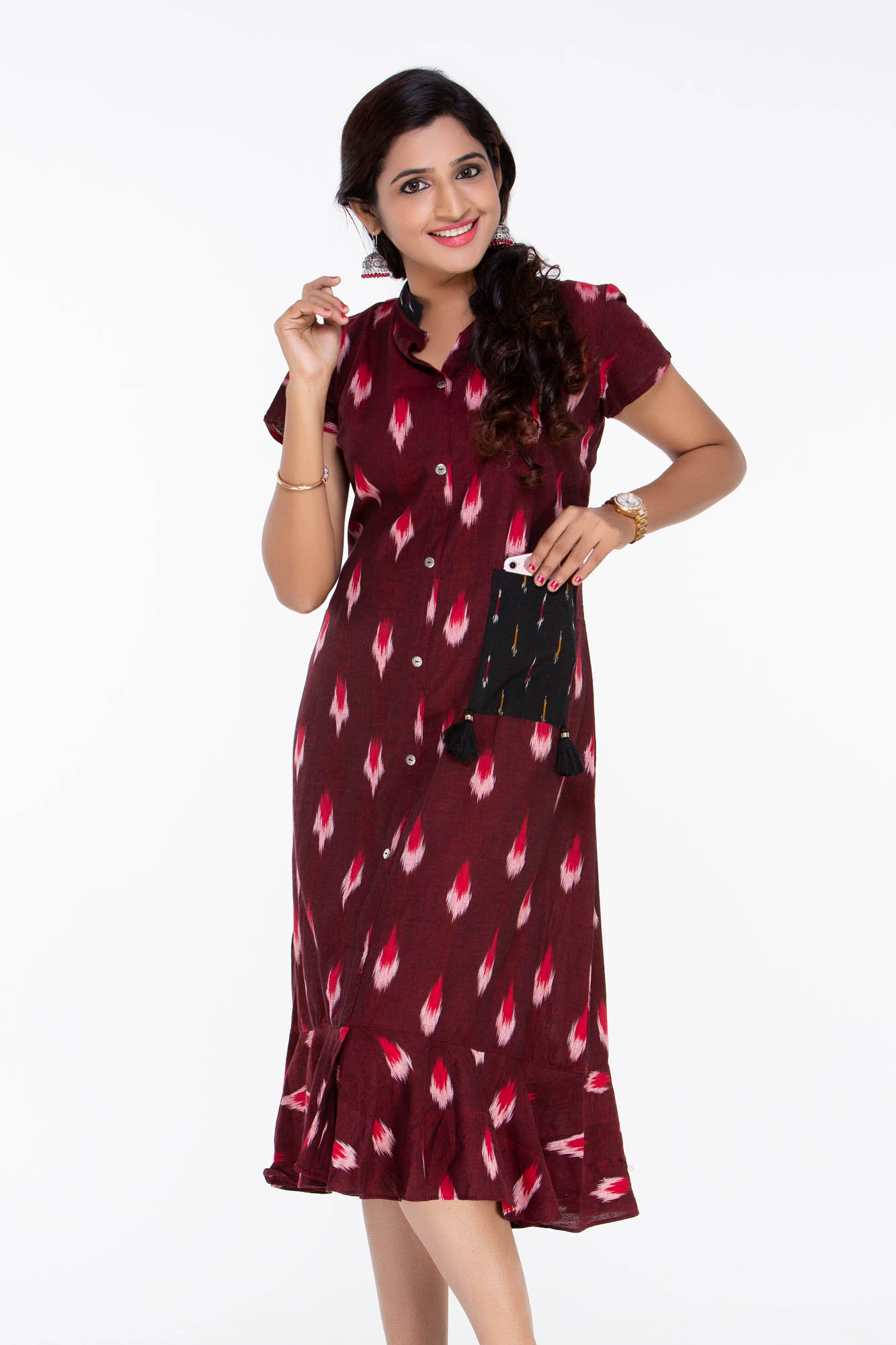 4f765200233a Indo Western Dress - Red Ikat Dress - LotusLane - Plus sizes available