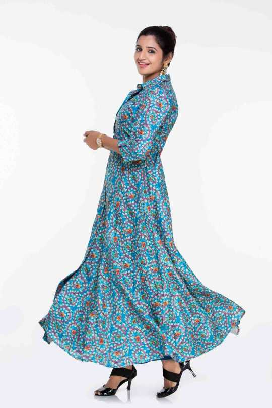 Blue Floral Kalamkari Indian Dress