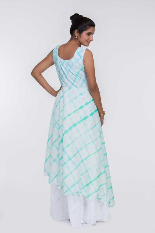 Green Cotton Sleeveless Long Dress