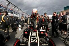 Romain Grosjean, Lotus F1, arrives on the grid.