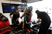 Wednesday 16th July 2013 Nicolas Prost climbs into his Lotus E21 Renault