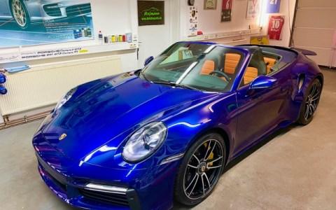 Porsche 992 TurboS Cabrio blue