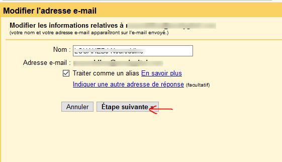 Fenêtre de modification des information lié au compte sortant