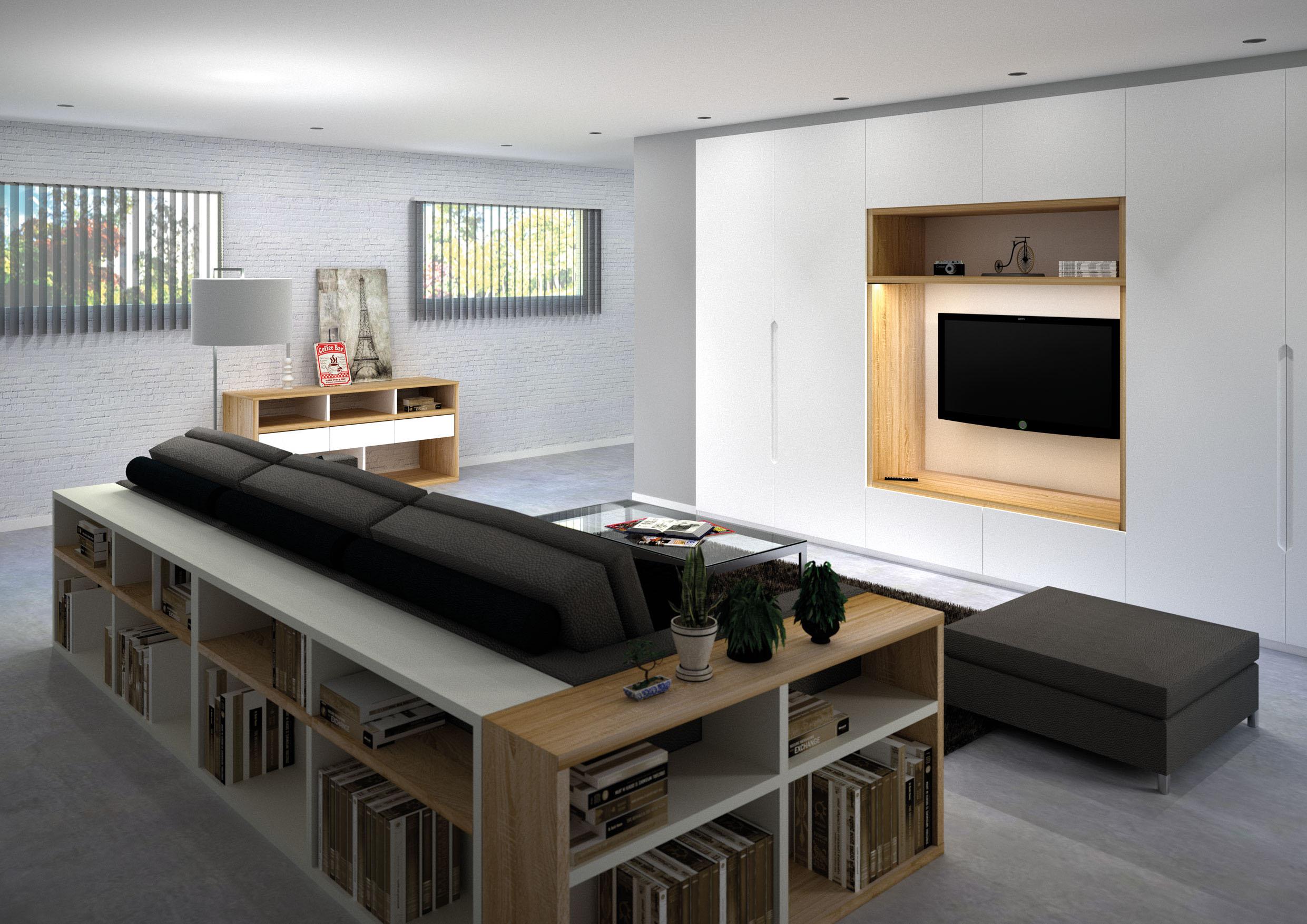 meuble tv aux rangements integres
